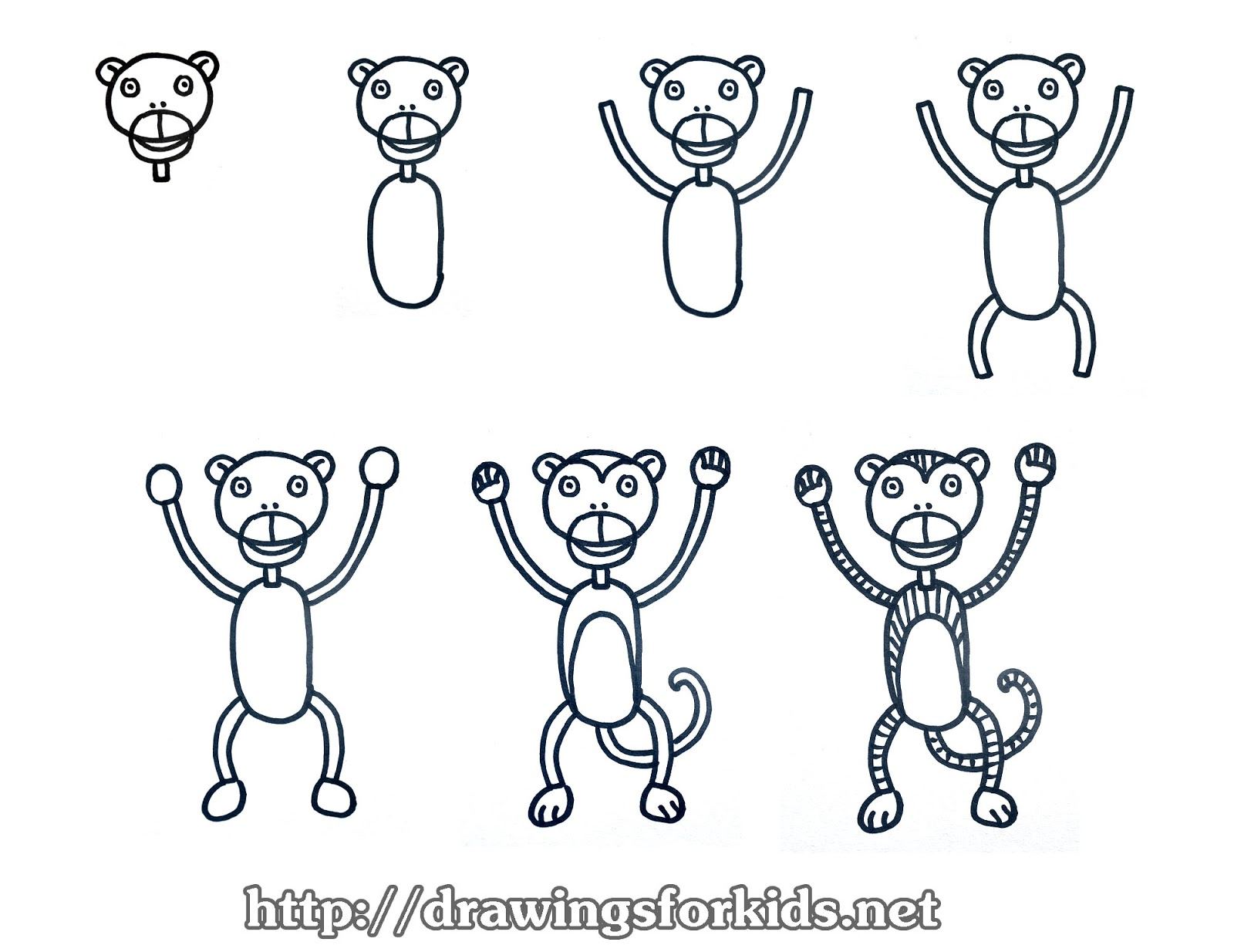 how to draw a monkey for kids drawingsforkids net