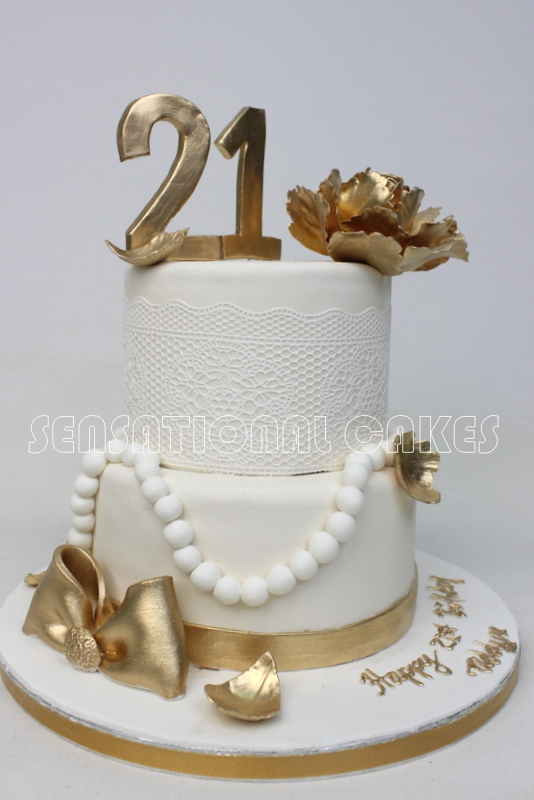 Cakes2share Singapore Lace Pattern 21st Birthday Cake