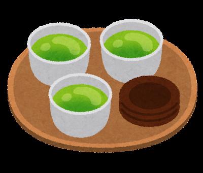 お盆に乗ったお茶のイラスト