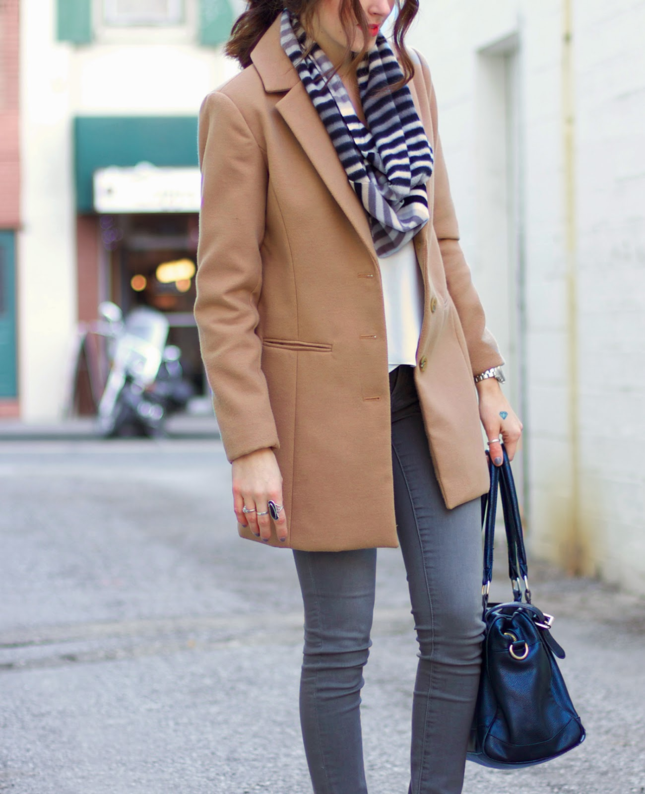 grey-jeans-tan-coat-striped-scarf