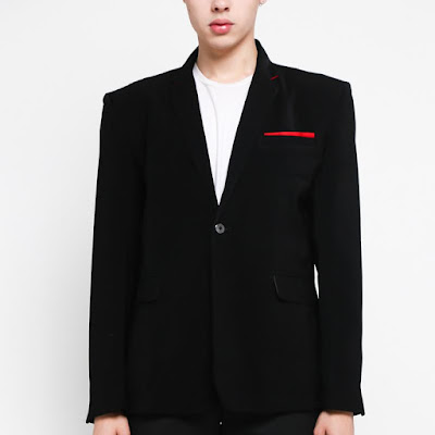 Grosirjaket Style Red List Jas Formal Pria - Hitam