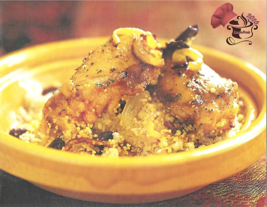 Pollo con cuscús y cebolla caramelizada