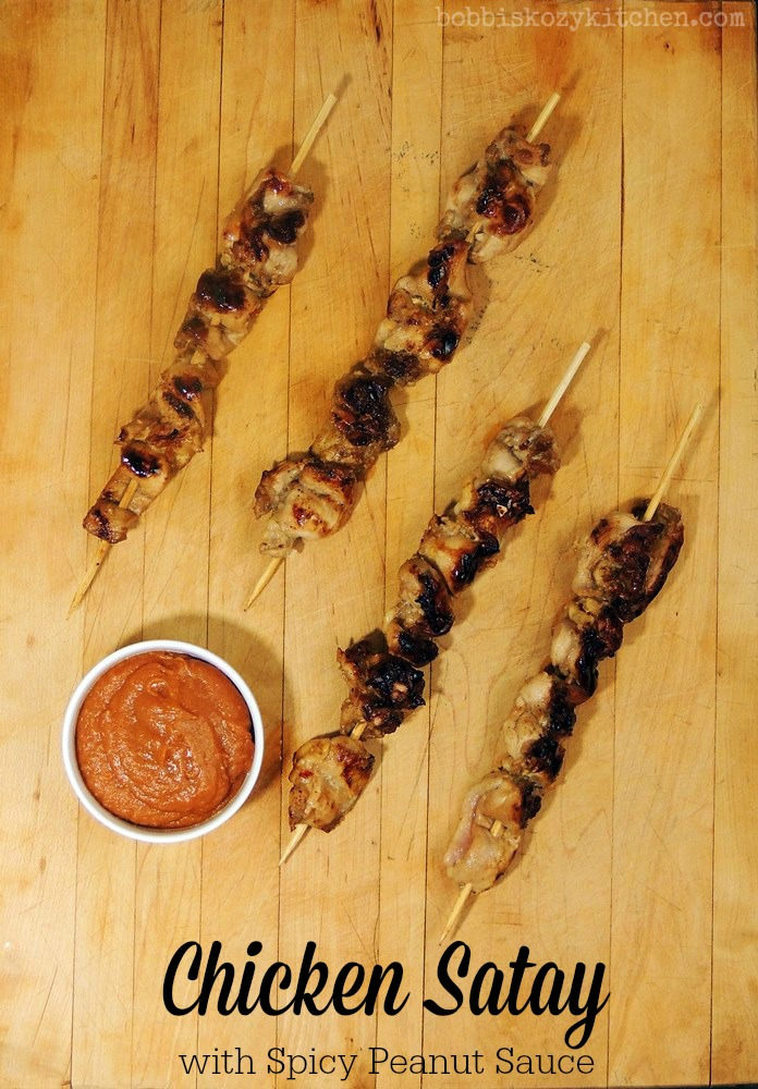Chicken Satay with Spicy Peanut Sauce - Succulent bites of chicken marinated in creamy Greek yogurt and dipped in a delicious spicy peanut sauce. Heaven! From www.bobbiskozykitchen.com