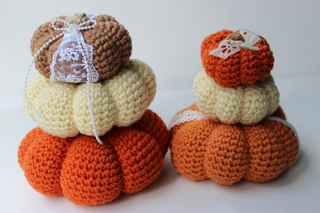What sweet and cute little pumpkins. Crocheted in Traditional colors with a little bit of lace and trim make them so special.