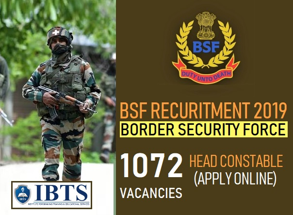 BSF Recruitment 2019: 1072 Head Constable Posts