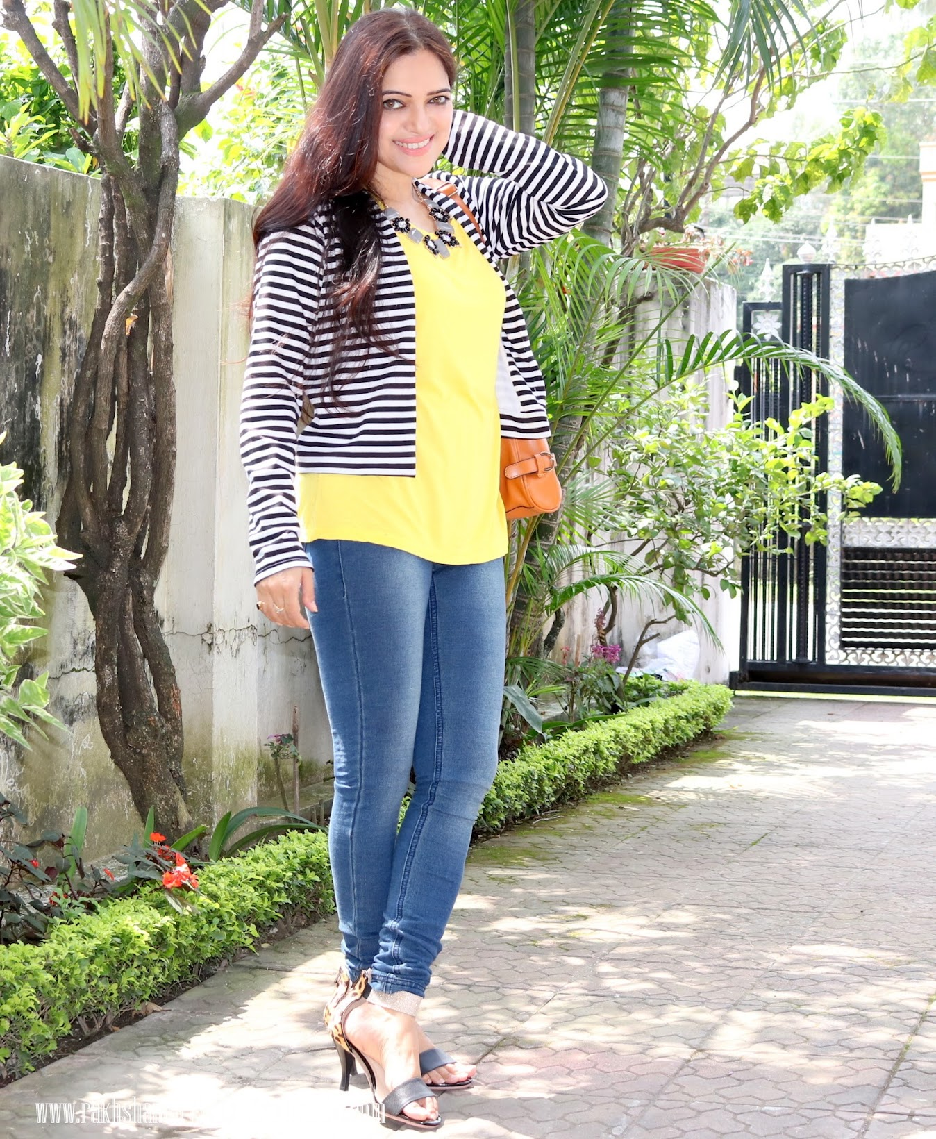 Power Dressing- OOTD | How to wear a striped Blazer, Miss Chase outfit, Stardust stement necklace, Autumn fashion trends, Indian fashion blogger, Chamber of Beauty