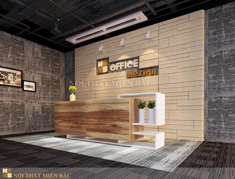 Thiết kế văn phòng hiện đại không gian lễ tân tự nhiên
