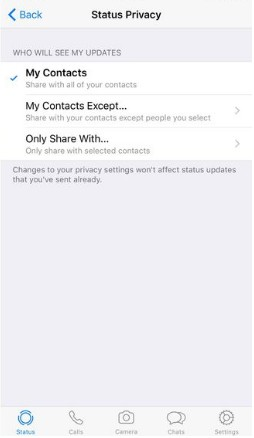 How to use whatsapp snapchat status feature, whatsapp status privacy