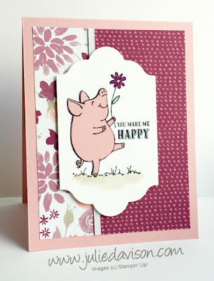 Sneak Peek: Stampin' Up! This Little Piggy Blooms Card for GDP#082 ~ 2017-2018 Annual Catalog ~ www.juliedavison.com