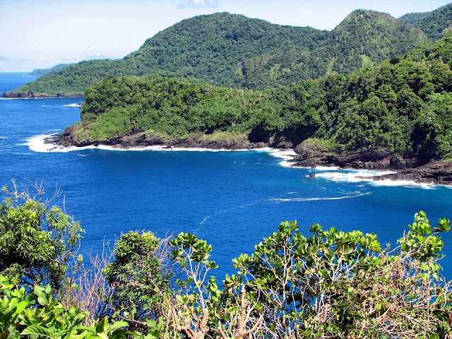 Paisaje tropical desde la costa de Samoa Americana.