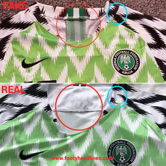 f1afe4ae97a Be Aware - How To Detect A Fake Nike Nigeria 2018 World Cup Kit ...