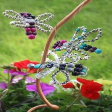 Garden decor made from beads and wire