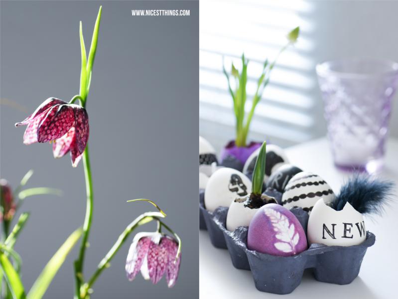 Ostereier bemalen in Schwarz Weiß Ostereier bestempeln zu Ostern florales Stencil