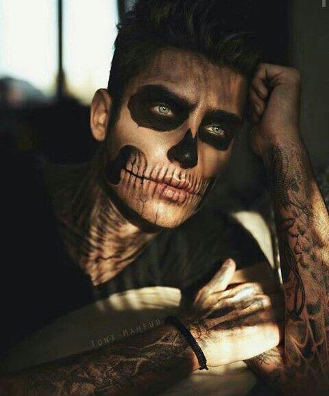 maquiagem caveira de halloween 2018 masculina facil