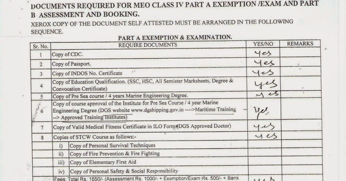 My Life As A Mariner: MEO CLASS IV-PART 'A' EXEMPTION IN