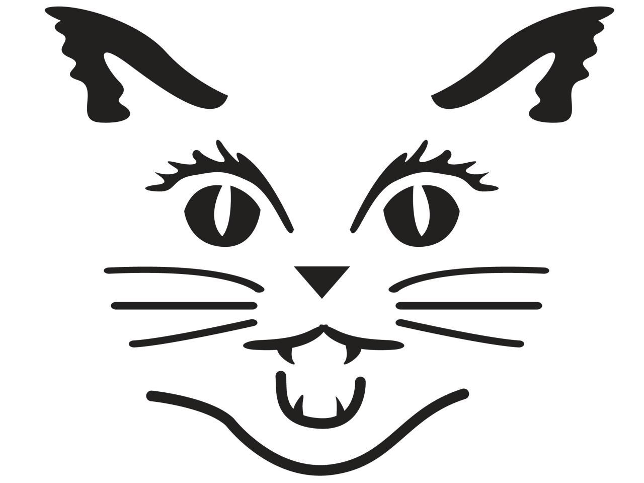 Cat face pumpkin carving pattern stencil template designs | Happy ...