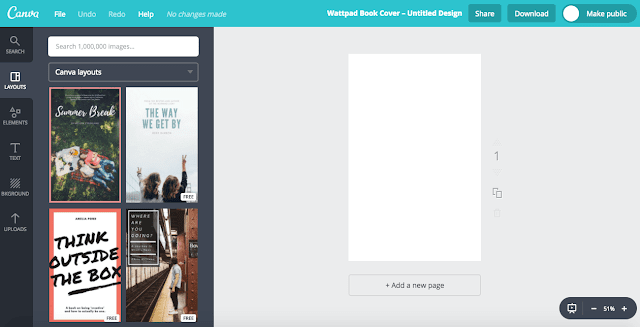how to free book cover canva