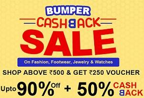 Shopclues 50% Cashback Sale: Shop for Min Rs.500 & Get Rs.250 Cashback