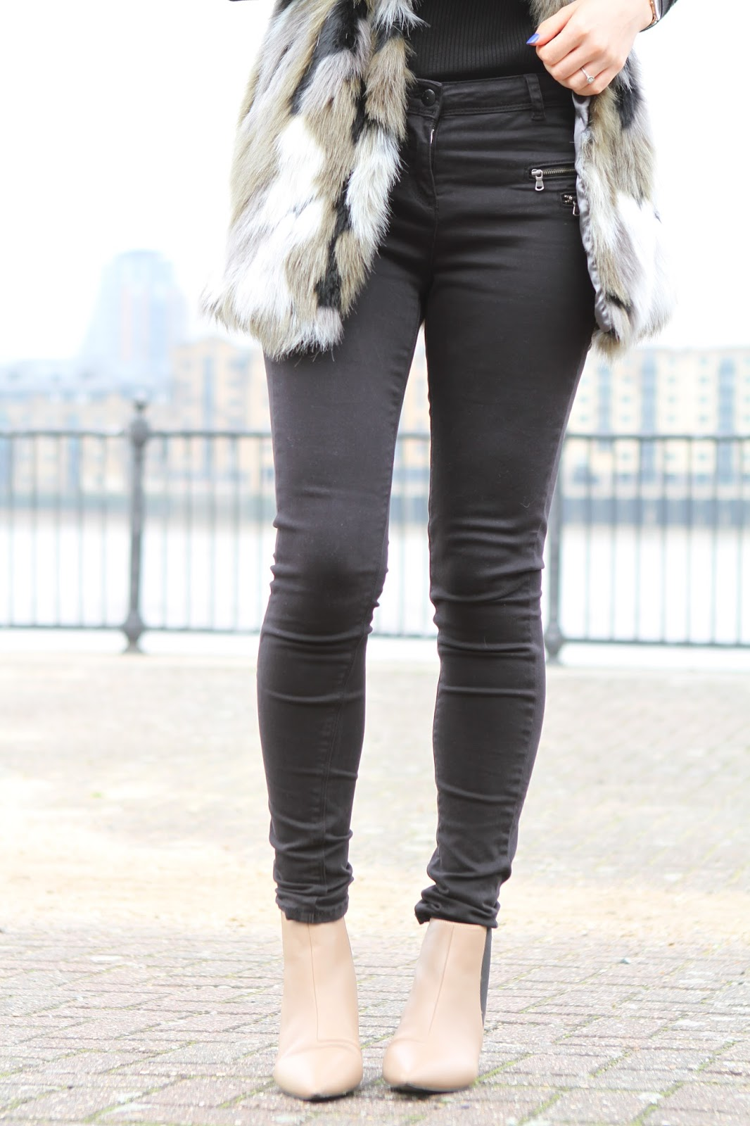 Black jeans with zips