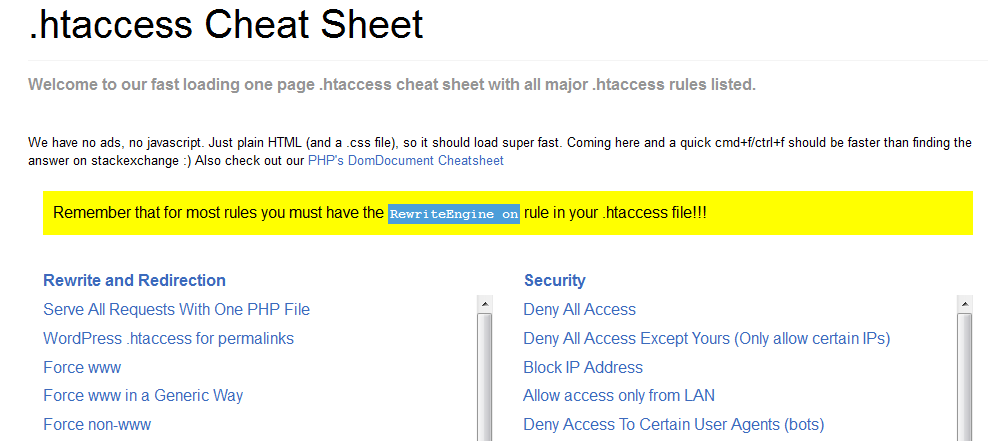 .htaccess Cheat Sheet