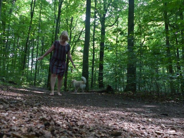 Zeit vergeuden Achtsamkeit Entschleunigung Wald Hund Spaziergang  diegeschenkten5minutenchallenge barfuß rückwärts gehen