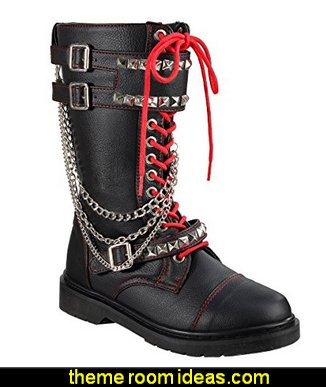 Women Combat Boots Pyramid Studs Lace Up Shoes Black Boots Chains