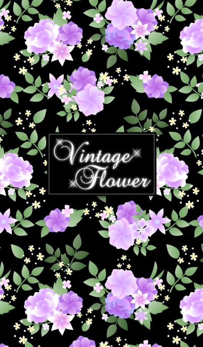 Vintage flower-Purple&black-
