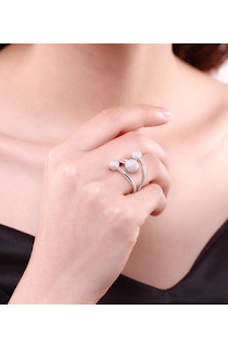 Inel ajustabil din argint 925, accesorizat cu 3 bilute