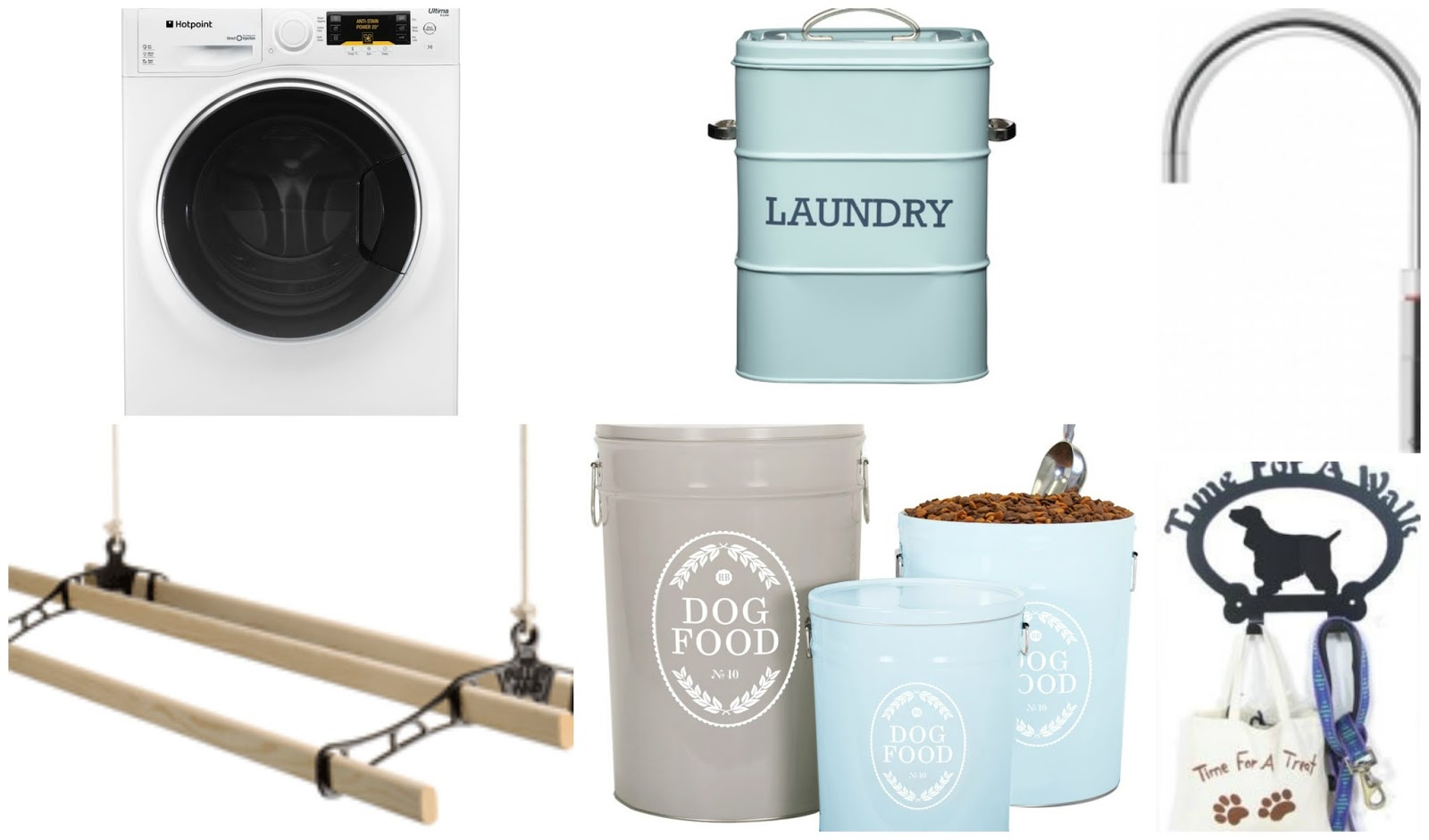 Ideal Utility Room Wishlist; Hotpoint washing machine, wooden airer, storage, Quooker tap