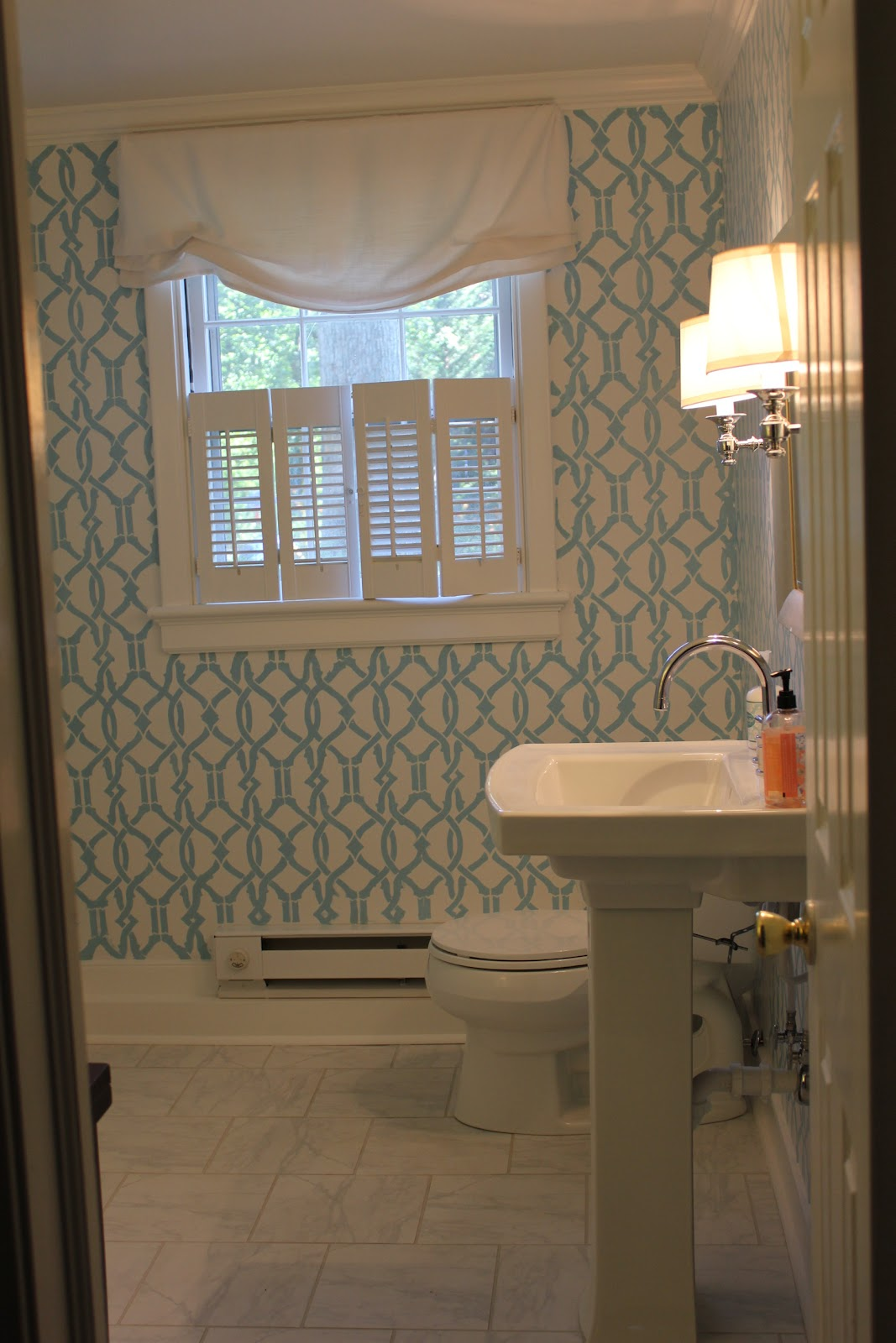 Westhampton DIY: How to Stencil a Room / Powder Room Remodel