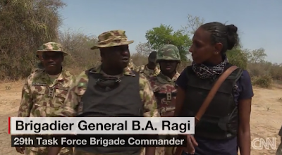 General rAGI OF THE nIGERIAN ARMY SHOWS THE CNN reporter Nima Elbagir AROUND AT SAMBISA FOREST