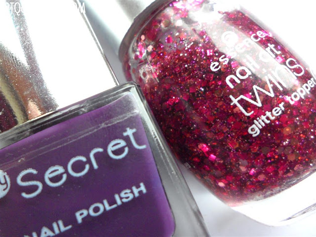 My Secret, Denim Love LE, 153 Berry Lea :: Essence, Nail Art Twins, Glitter Topper, 04 Carrie