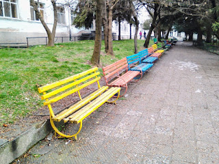 Pastel Coloured, Benches, Lined Up, Yambol,