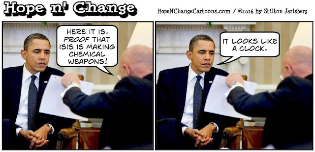 obama, obama jokes, political, humor, cartoon, conservative, hope n' change, hope and change, stilton jarlsberg, isis, chemical weapons, ahmed the clockmaker