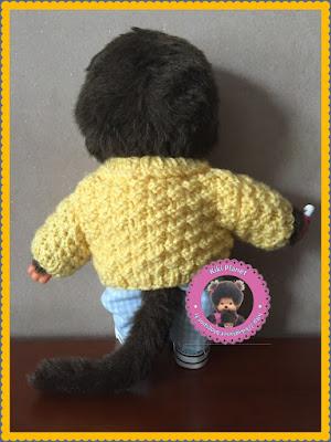 Gilet jaune fait main pour kiki ou Monchhichi, handmade, tricotage