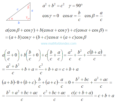 Right triangle. Law of cosines to the perimeter. Mathematics For Blondes.