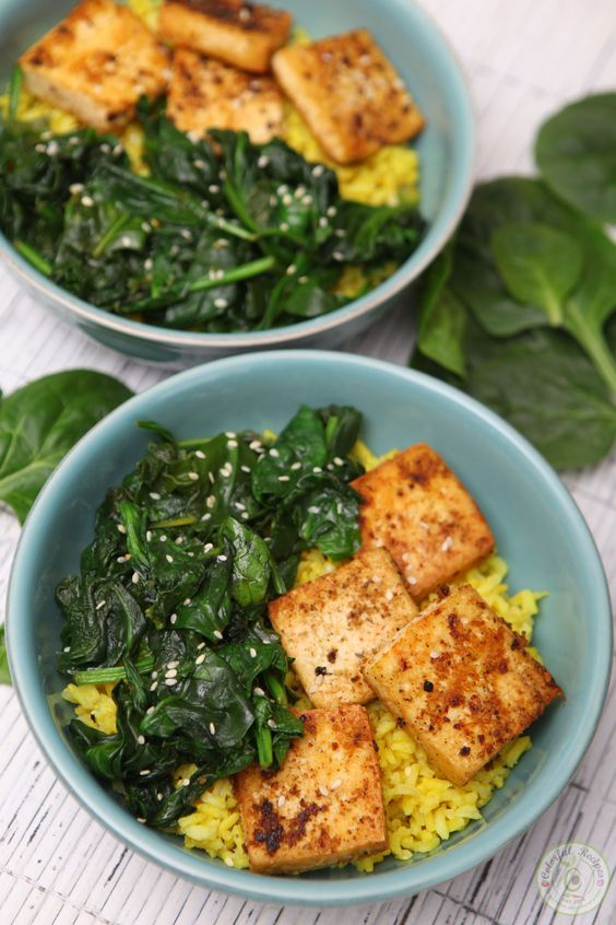 SIMPLE SPINACH TOFU WITH TURMERIC RICE #simplerecipes #spinach #tofu #with #turmeric #rice #tasty #tastyrecipes #delicious #deliciousrecipes