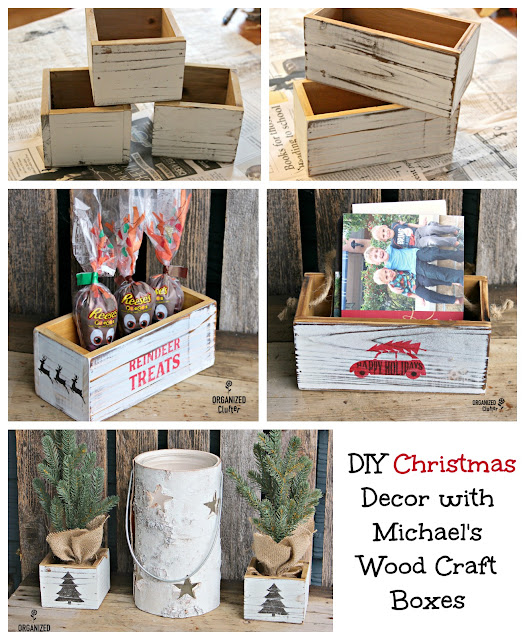 Easy DIY Stenciled Craft Shop Wood Boxes #Michaels #stencil #whitewash #cardholder #treatbox #reindeerfood #Christmasdecor #diyChristmas