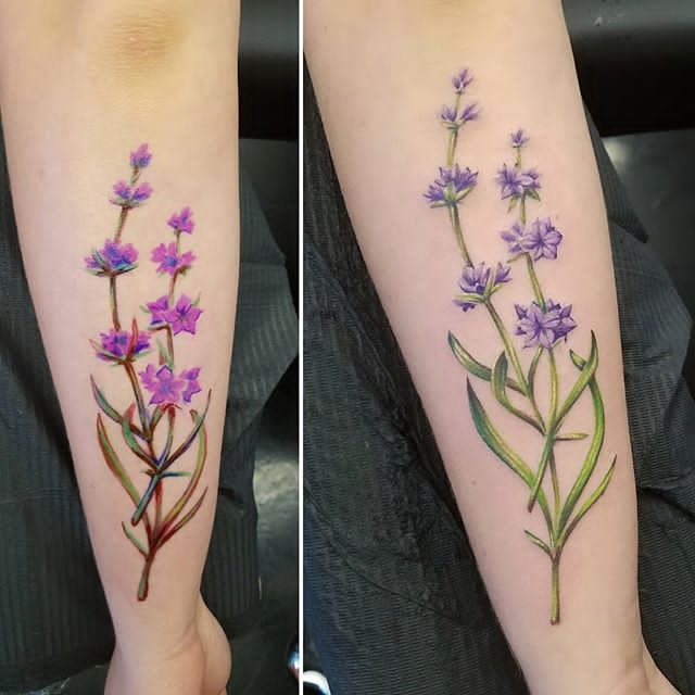 color Lavender Tattoo on Ankle