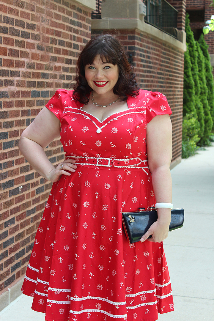 Plus Size Blogger Amber from Style Plus Curves, Voodoo Vixen Red Sailor Retro Dress