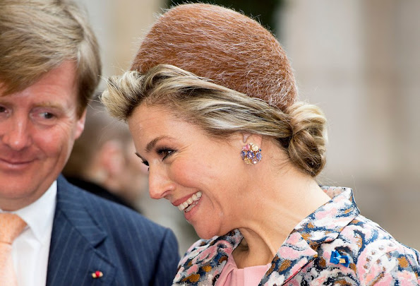 King Willem-Alexander and Queen Maxima of The Netherlands attend an strategic business dialogue at Les Docks in Paris, France