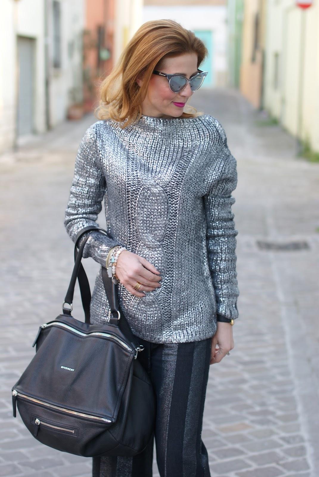 Metallic silver sweater on Fashion and Cookies fashion blog, fashion blogger style