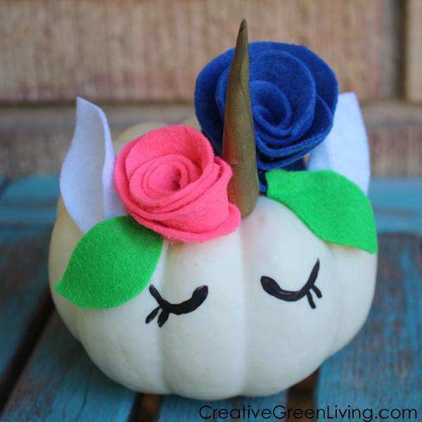 How to make a pretty unicorn pumpkin craft project