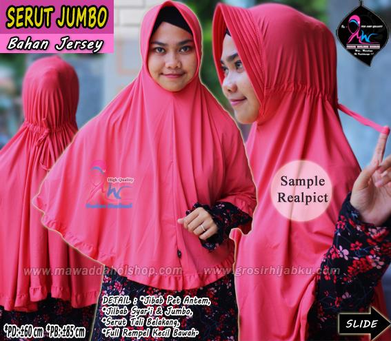 Jilbab Serut Belakang Ukuran Jumbo Bahan Jersey Polos Gambarsurat Com