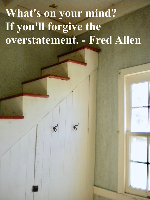 Wood staircase in a home going nowhere. What's on your mind if you'll forgive the overstatement. Fred Allen. Esprit d'escalier, staircase wit, and other stories of something to say. marchmatron.com