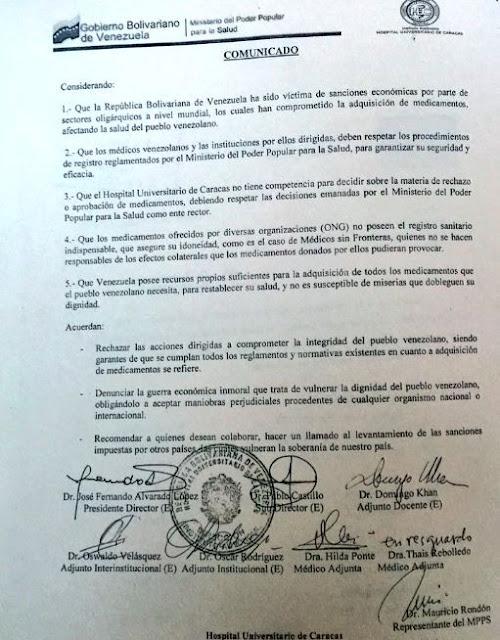 """Directiva del HUC afirma que Venezuela posee """"los recursos propios para adquirir medicamentos"""""""
