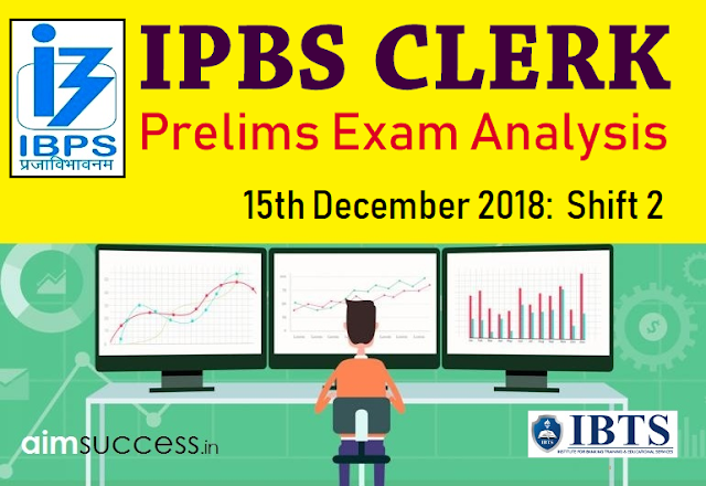 IBPS Clerk Prelims Exam Analysis 15th December 2018:  Shift 1