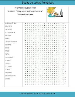 Pubertad Sopa de letras para niños