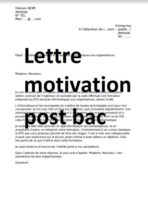 Lettre De Motivation Post Bac Word Doc Cours Génie Civil