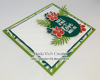 Linda Vich Creates: Tropical Chic Anniversary Card. The Tufted Embossing Folder provides an elegant matte for the leaves and flowers from the Tropical Chic Bundle on this anniversary card.
